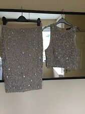 Rock And Religion 2 Piece Nude Sequin Crop Top And Pencil Skirt Jovani 8 Rrp 90
