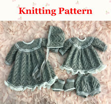 "Knitting pattern 12-18"" doll prem baby angel top, pants, dress, bonnet, bootees"