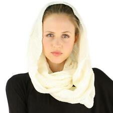 Winter Soft Pullover Cable Long Knit Loop Infinity Hood Cowl Ski Scarf Ivory