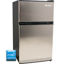 Stainless Steel Silver Mini Refrigerator w/ Top Freezer, Beverage Compact Fridge
