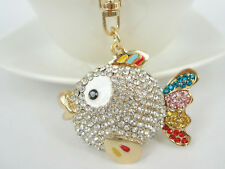 KC052 Fish Fashion Keyring Swarovski Crystal Charm Pendant Key Bag Chain Gift