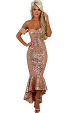 New Champagne Gold Off Shoulder Sequins Hi low Mermaid Fishtail Dress 8 10 12 14