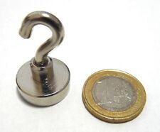 10 Neodym-Magnet rund 20 mm mit Haken hält ca. 11,0 kg
