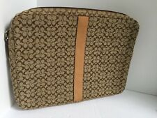 "Coach Signature 13"" Laptop Computer Case Sleeve Brown Jacquard Padded B2"