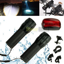 2x Q5 LED Mountain Bike Bicycle Cycling Zoomable Front Head Lights + Rear Light