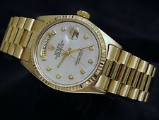 Mens Rolex Solid 18k Yellow Gold Day Date President Watch White MOP Diamond 1803