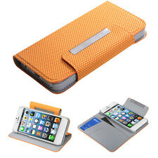 For Apple iPhone 5 Premium Leather Wallet Case Pouch Flip Cover Yellow Ball