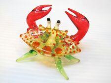 Handcrafted MINIATURE HAND BLOWN GLASS Orange Crab FIGURINE Collection