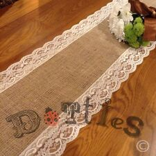 18 X 7ft Beautiful Bespoke Hessian and Lace Table Runners