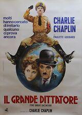 """""""LE DICTATEUR (THE GREAT DICTATOR)"""" Affiche italienne entoilée (Charlie CHAPLIN)"""