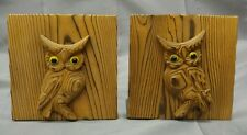 Old vintage pair of wooden owl bookends