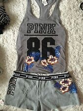 Victoria Secret Pink Tee & Shorts set Bling gray Sequin tropical Flower hawaii L