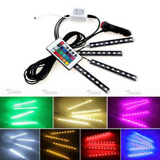 4x 9 LED Remote Control Colorful RGB Car Interior Floor Atmosphere Light Strip