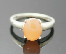 9Carat White Gold Cabochon Cut Peach Moonstone Solitaire Ring (Size L) 7x9mn