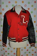 "vintage MAIN AUTO SPORT SHOP  Mens SMALL red black LEATHER varsity ""L""  COAT"