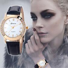 Horloge Ronde Geneva À La Mode Femme Bracelet De Montre Diamant Analogue Montre