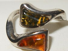 Beautiful sterling silver unusual Green / Orange baltic amber statement ring