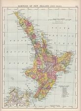 1923 MAP ~ DOMINION OF NEW ZEALAND NORTH ISLAND ~ REFERENCE TO COUNTIES