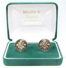 1957 6D cufflinks from real coins in Blue & Gold