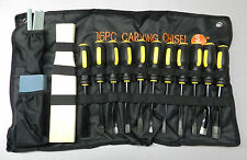 WOOD CARVING SET 16 PIECE CHISELS WOODWORKING HAND TOOL KIT with a CLOTH POUCH