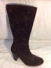 Fiore Leather Dark Brown Mid Calf Suede Boots Size 6