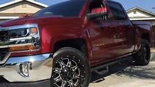 TEXTURED Matte BLACK 07-17 CHEVY Silverado Crew Cab Hoop Style STEPS Nerf Bars