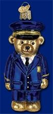 POLICE OFFICER BEAR OLD WORLD CHRISTMAS GLASS CRIMINAL JUSTICE ORNAMENT 12382