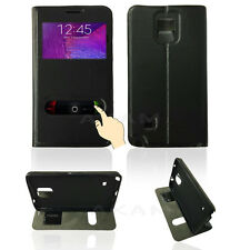 Dual Window Leather Slide Flip Stand Book Case Cover Samsung Galaxy Note 4 N910F