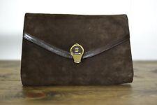 Vintage Bally Italian Cocoa Suede Envelope B Logo Clasp Convertible Clutch Bag