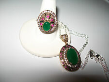 BEAUTIFUL DAINTY NATURAL EMERALD AND RUBY PENDANT AND RING SIZE 6.5