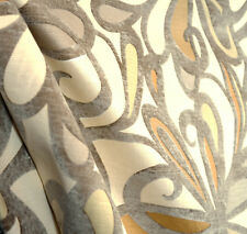 Fanfare Buff Flocked Upholstery Fabric By Microfibres