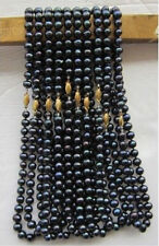 wholesale natural 10PC 7-8mm Black Tahitian pearl necklace 18""