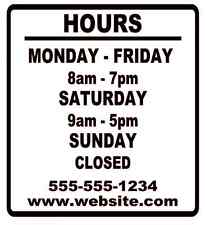 "Business Store Hours Sign Window Shop Open Closed Sticker Decal 10""x9"" VER 2"