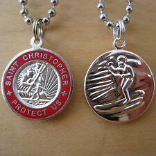 Saint Christopher Surf Medal Protector of Travel sv-re Silver-Red