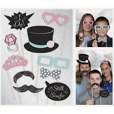 WEDDING PARTY PHOTO BOOTH PROPS DECORATIONS RING MUSTACHE TOPHAT GLASSES I DO
