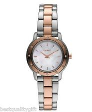 NEW-DKNY TWO,2 TONE ROSE GOLD+SILVER S/STEEL+MOP,CRYSTAL SMALL DIAL WATCH NY8350