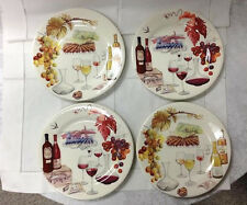 "GIEN ""BOUQUET"" RED/WHITE WINE DESSERT PLATES (SET 4) 8 5/8"" FRENCH FAIENCE NEW"