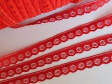 10 yards Non-Elastic 10mm Red Daisy Floral Lace Trim/Craft/Ribbon/Sewing T143