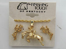 Horse Hunter Jumper Gold Tone Necklace & Earrings Jewelry Set