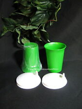 Tupperware New D Green Bell Tumblers & Domed White Sippy Sipper Seals Set of 2