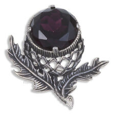 Miracle Large Pewter Purple Amethyst Crystal Scottish Thistle Brooch UK Made