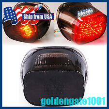 US Smoked LED Taillight Brake Signal Light For Harley Softail Sportster Dyna GG