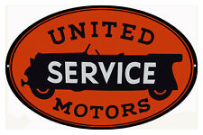 Large United Service Motors Gas Station Sign 11X18 Oval