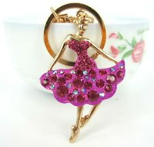 New Ballet Girl Lady Lovely Pendant Charm Crystal Purse Bag Key Chain Wholesale