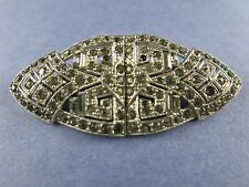 Coro Art Deco Duette Brooch and 2 Dress Fur Clips with clear Rhinestones (1136)