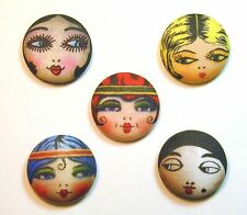 Flapper Button Set of 5 -  Assorted Hand Printed- Cute! FREE US SHIPPING