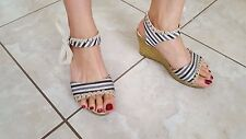 Well worn traveled women's wedges w/ bow ribbon size 7.5
