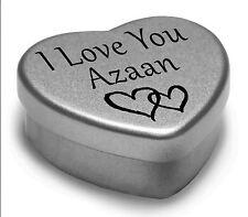 I Love You Azaan Mini Heart Tin Gift For I Heart Azaan With Chocolates
