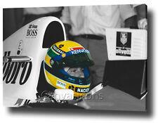 "AYRTON SENNA CANVAS ART 30""x20"" WALL ART PRINT F1 MOTIVATIONAL QUOTE FORMULA ON£"