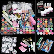 42 Acrylic Powder Liquid Nail Art Kit Glitter UV Gel Glue Tips Brush Set 2016 TL